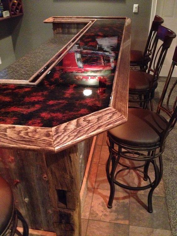 red countertop epoxy bartop