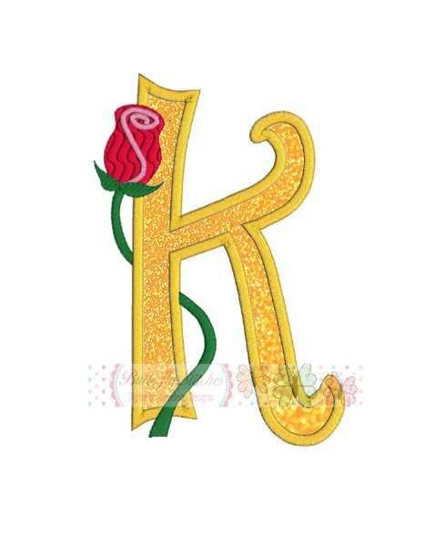 Letter K With Rose Vine Digital Machine Embroidery Appliqué Design