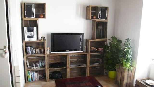Mueblesdepalets.net: 4 Muebles para la TV con cajas de fruta | Deco ...