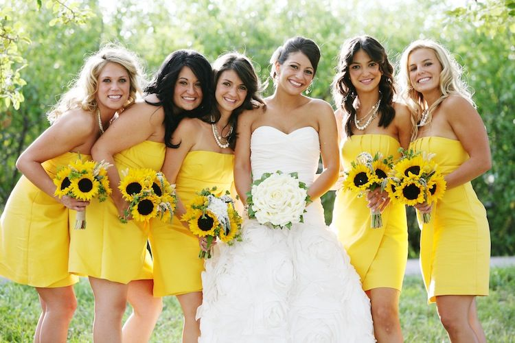 I Love Sunflowers They Are My Favorite Flower Yellow Brides Maid Dresses Yes But Not Sure About Also Bit Too Much Maybe