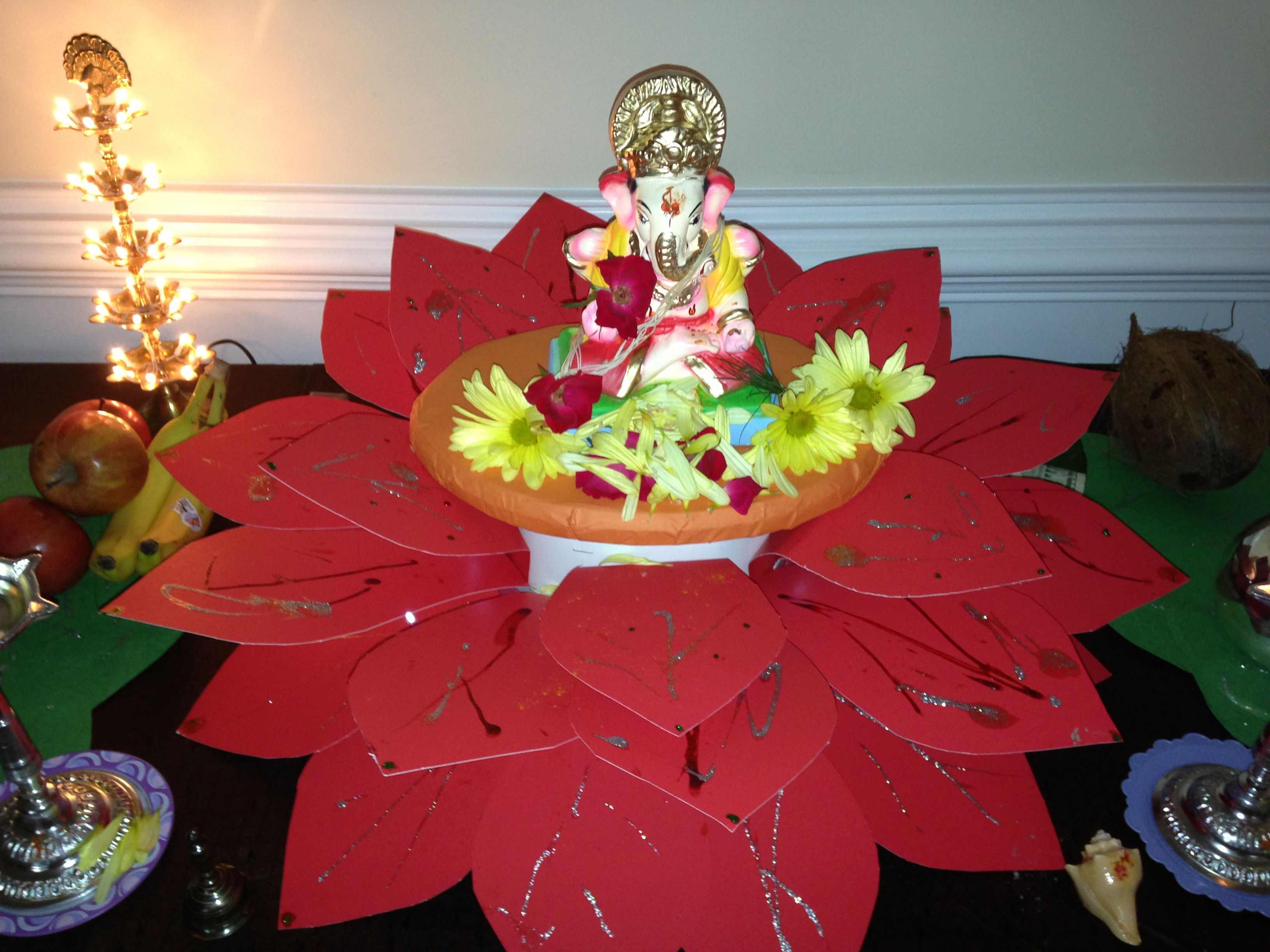 Ganpati in lotus decoration Ganpati in lotus