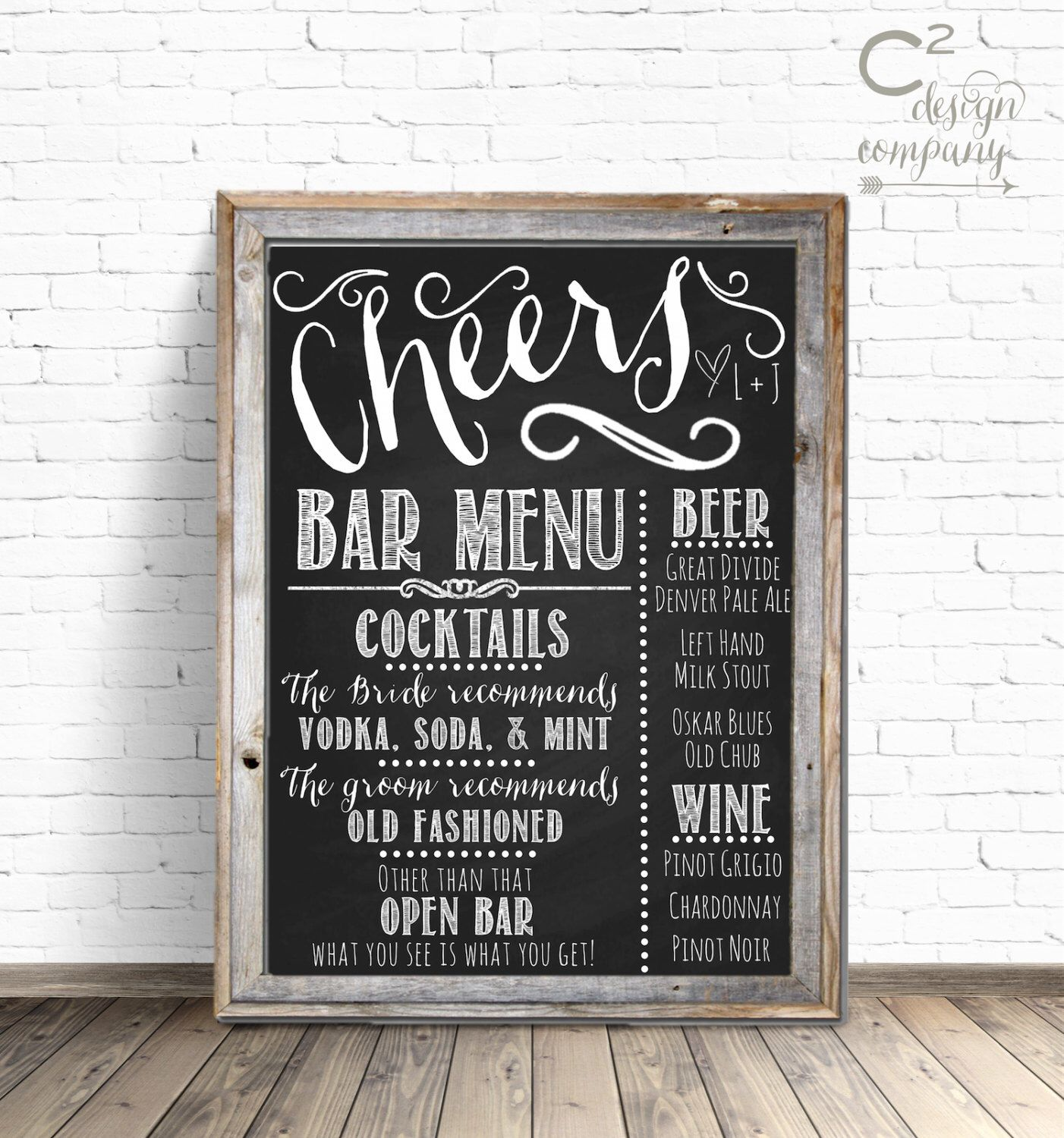 cheers chalkboard wedding bar menu sign in 2018 | vault chalk