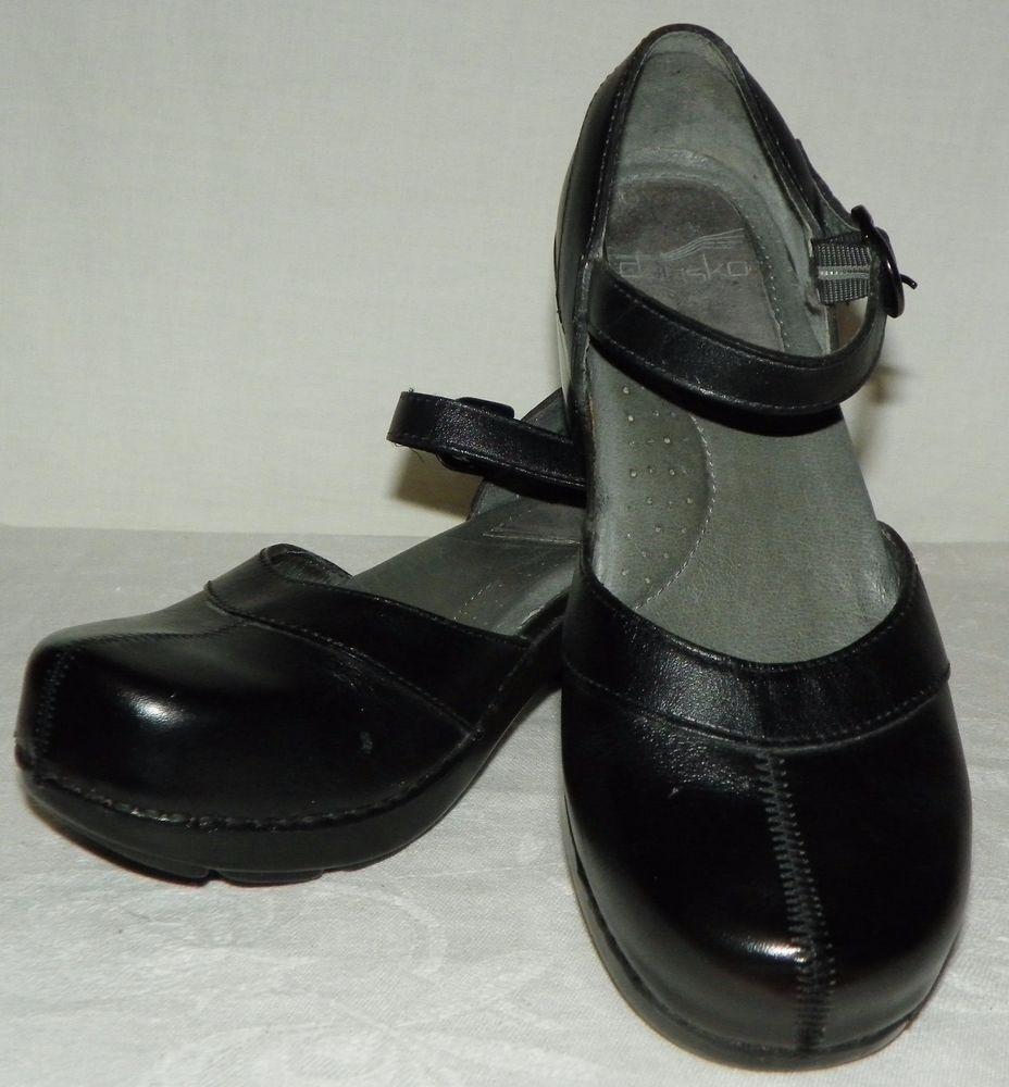 Women's Dansko Black Leather Oxford Clogs Sz EU 37
