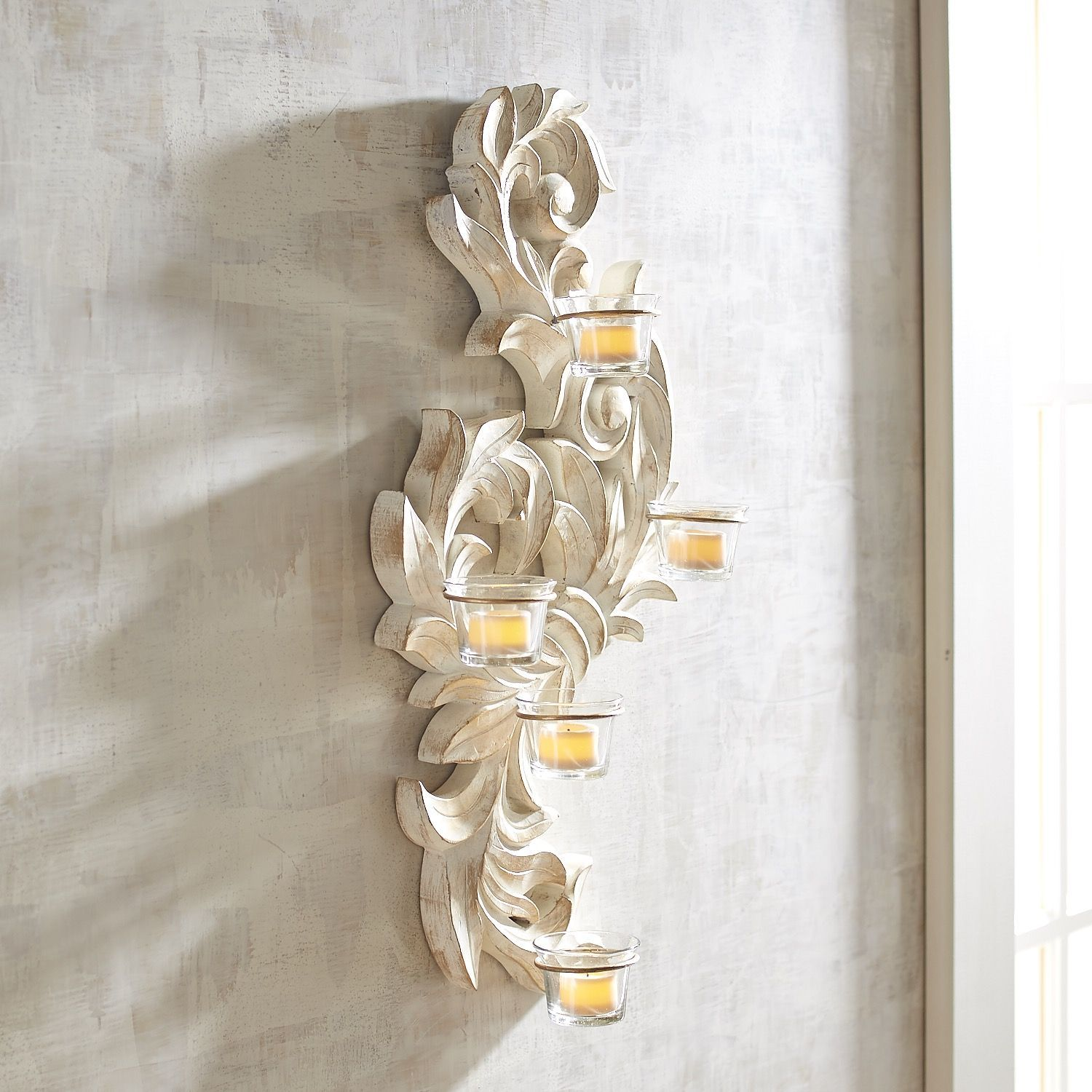 Carved Wood Scroll Tealight Candle Wall Sconce White Products