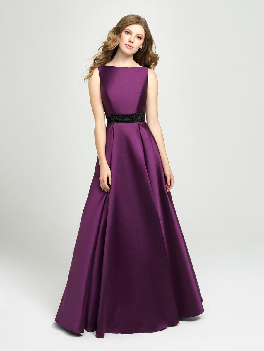 Style 19 145 From Madison James Is Inspired By Vintage 1940 S Styling This Sleeveless Gown Has A Bateau Purple Prom Dress White Prom Dress Formal Dresses Prom [ 1200 x 902 Pixel ]