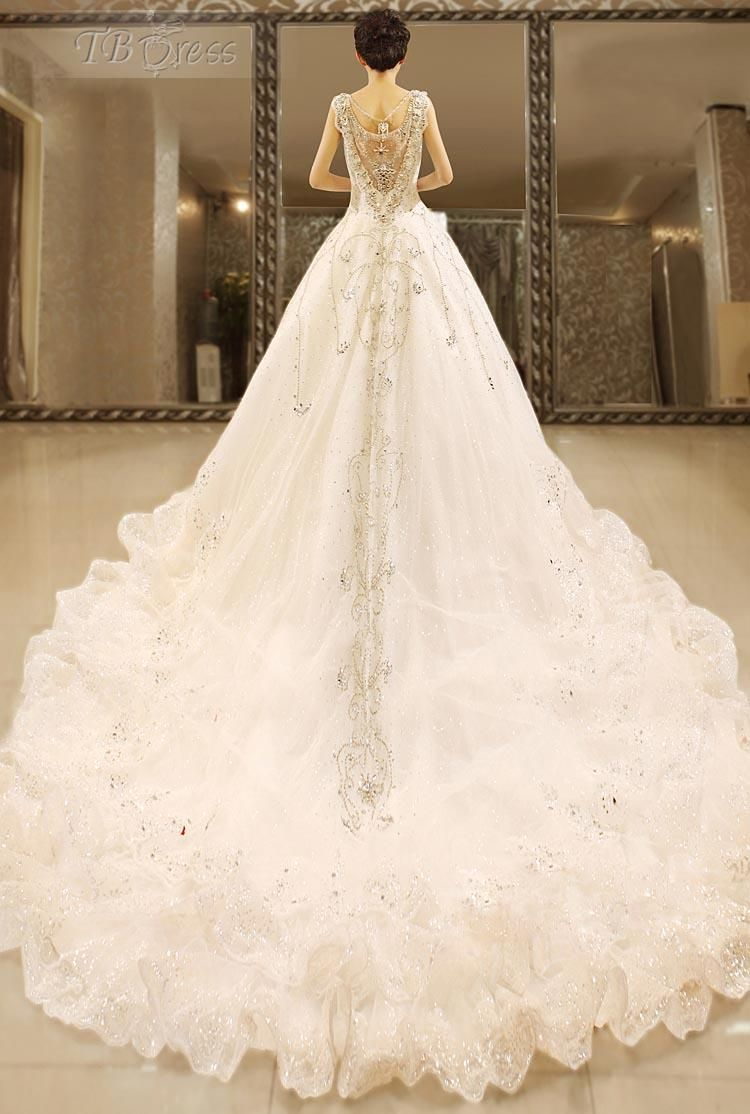 Most Por Ball Gown Floor Length Straps Beading Tiered Cathedral Train Wedding Dress Tbdress