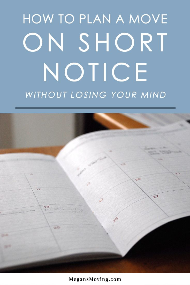 How To Plan A Move On Short Notice Without Losing Your Mind Moving Tips Planning A Move Moving Help