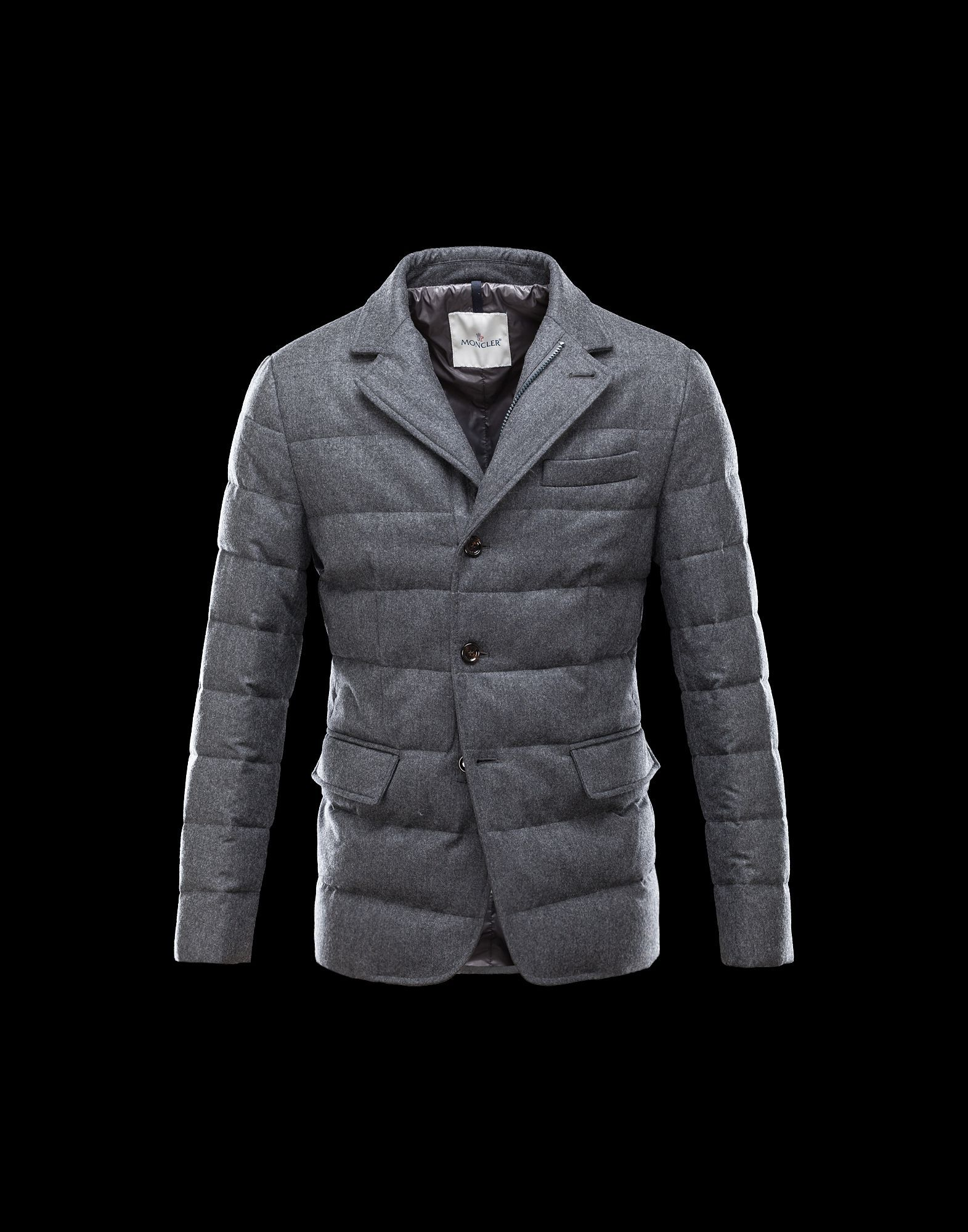 Moncler Outlet Rodin Men Steel Grey Flannel Down Jackets