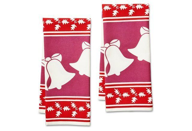 S/2 Holly & Bell Holiday Icon Tea Towels
