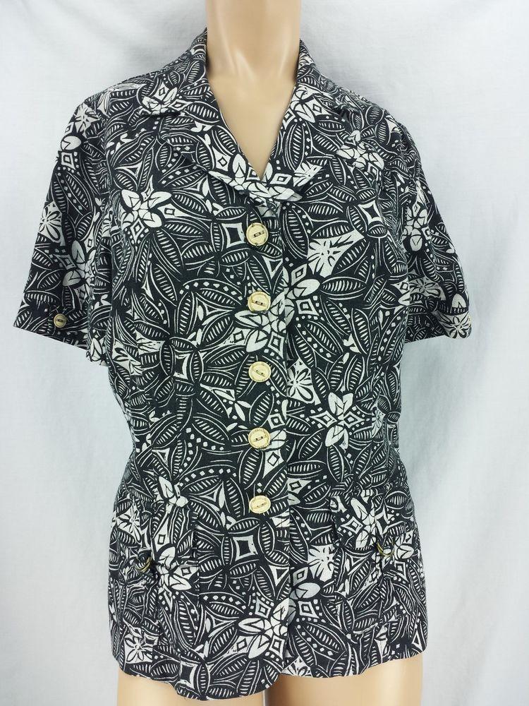 Best Hawaii Black White Short Sleeve Jacket Blouse 100 Cotton 400 x 300