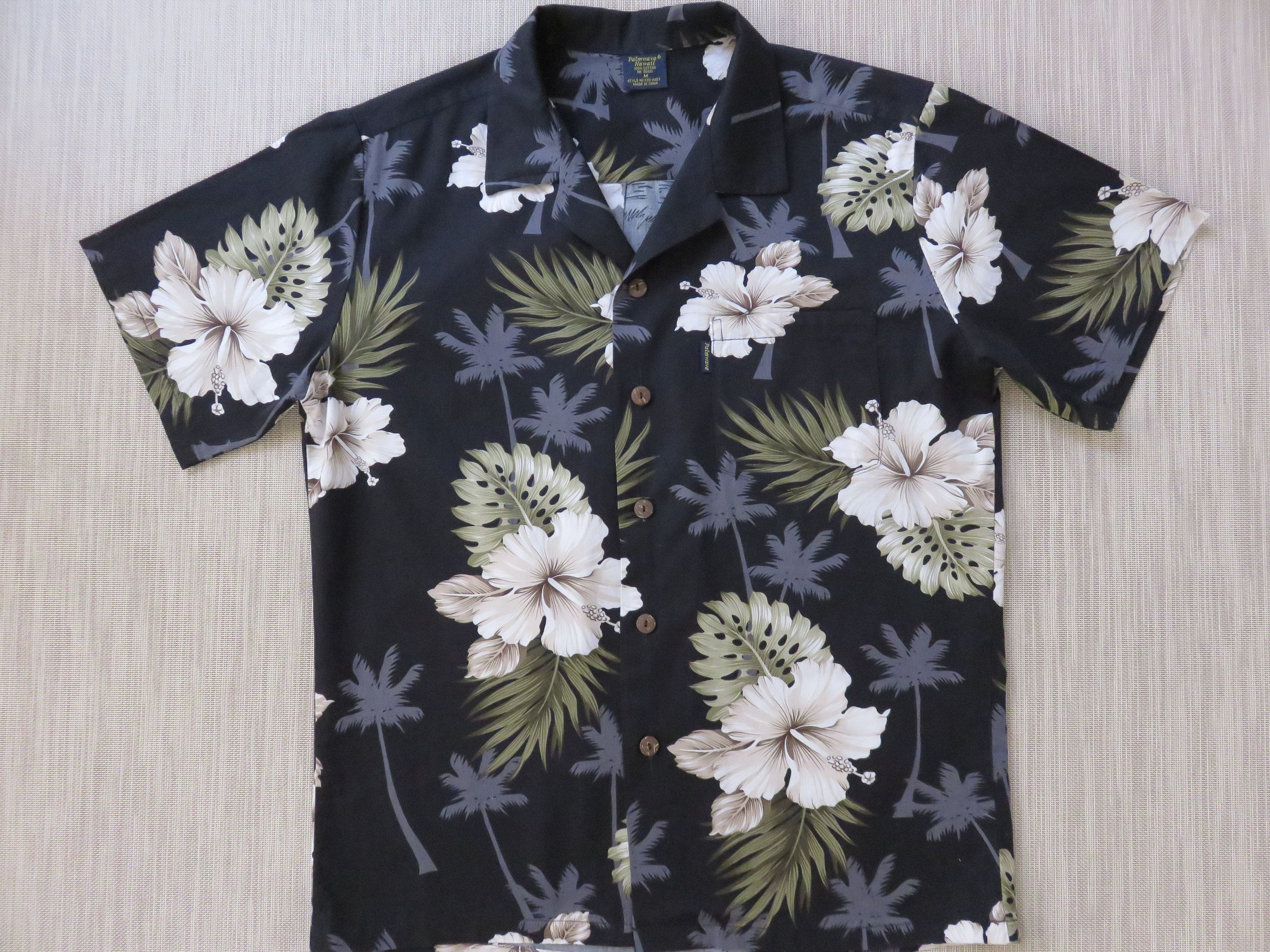 3e1e0bf1e Hawaiian Shirt Men PALMWAVE HAWAII Shirt Black Aloha Shirt Tiki Tropical  Print White Hibiscus 100% Cotton Camp - M - Oahu Lew's Shirt Shack by ...