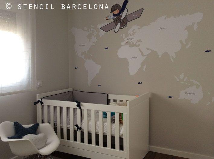 habitaciones infantiles con #vinilos mapamundi de Stencil Barcelona ...
