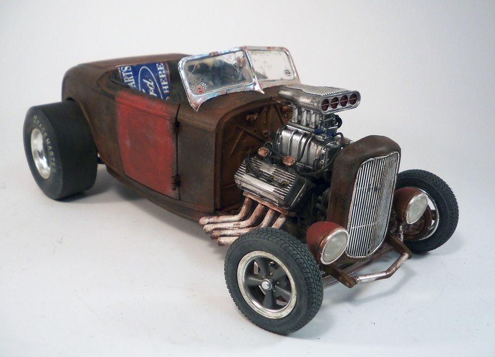 1932 Ford Roadster Custom Weathered Barn Find Drag Car Rat Rod 1 18 Diecast ACME