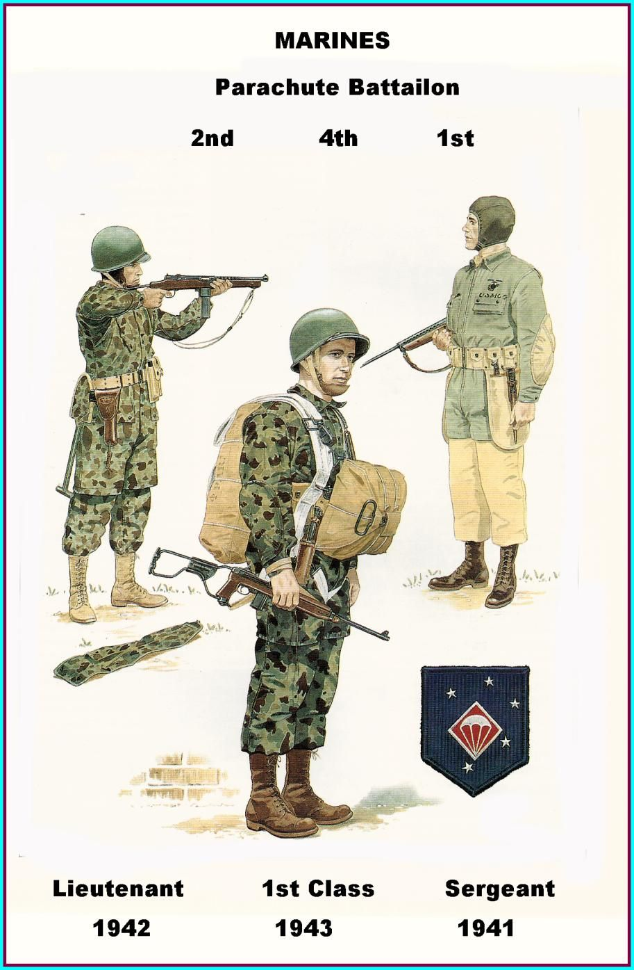 USMC - 1st 2nd & 4th Parachute Battalion - 1941/43