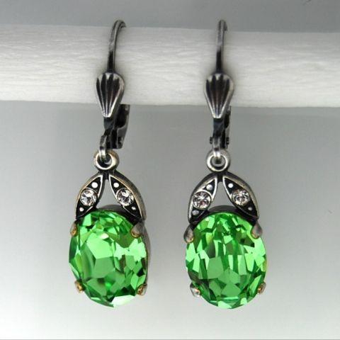 Ohrringe altsilber mit Swarovski-Kristall Oval - Green Turmalin ...