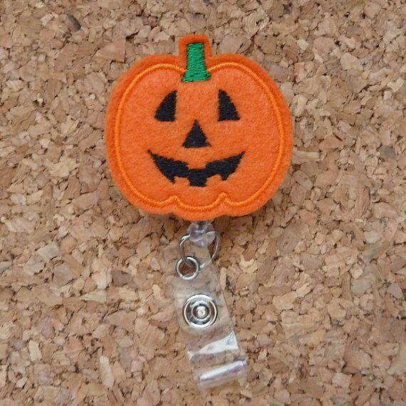 pumpkin planner clip badge reel pumpkin pumpkin magnet badge clip Pumpkin badge reel