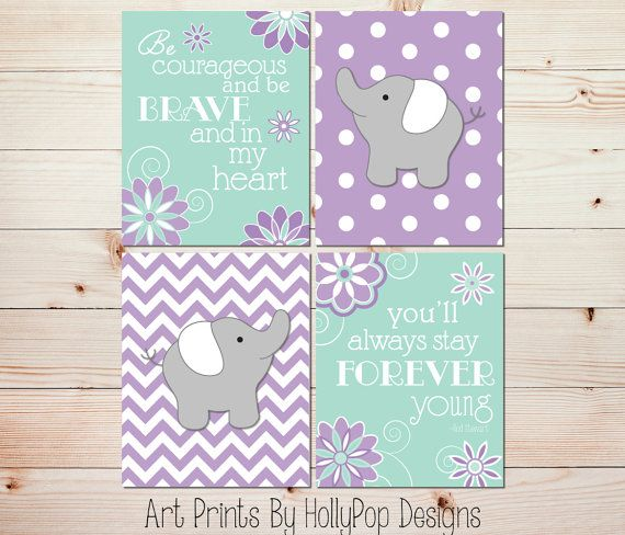 Elephant Nursery Art Baby Girl Nursery Decor by HollyPopDesigns