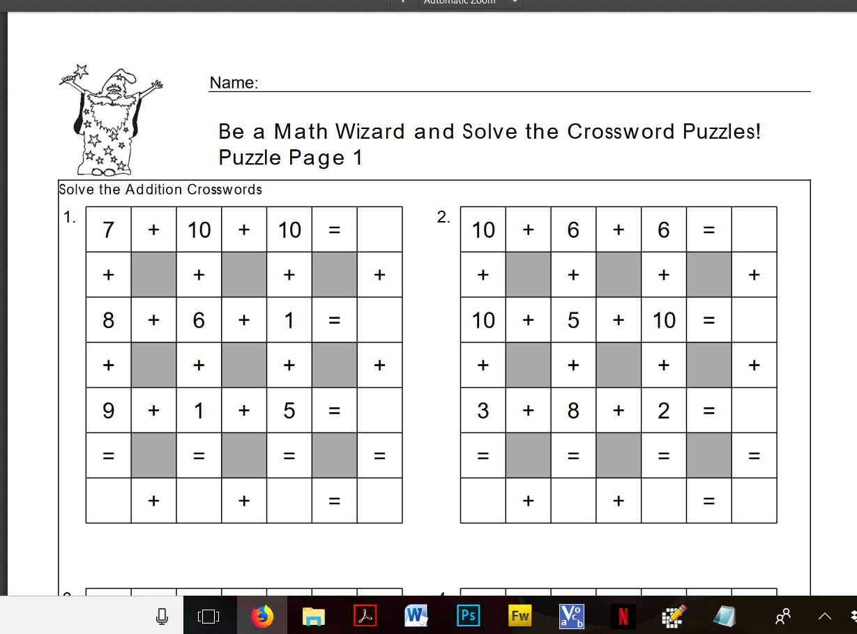 Free Downloadable Addition Crossword Puzzles To Engage Learners Make Learning Fun And To Consolidate Understanding Of Number Math Worksheets Math Fun Learning