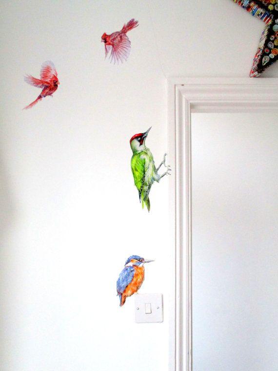 Bird Wall Stickers Red Cardinal Wall Decals By Smockballpoint Mural Wall Art Bird Wall Decals Wall Stickers Red