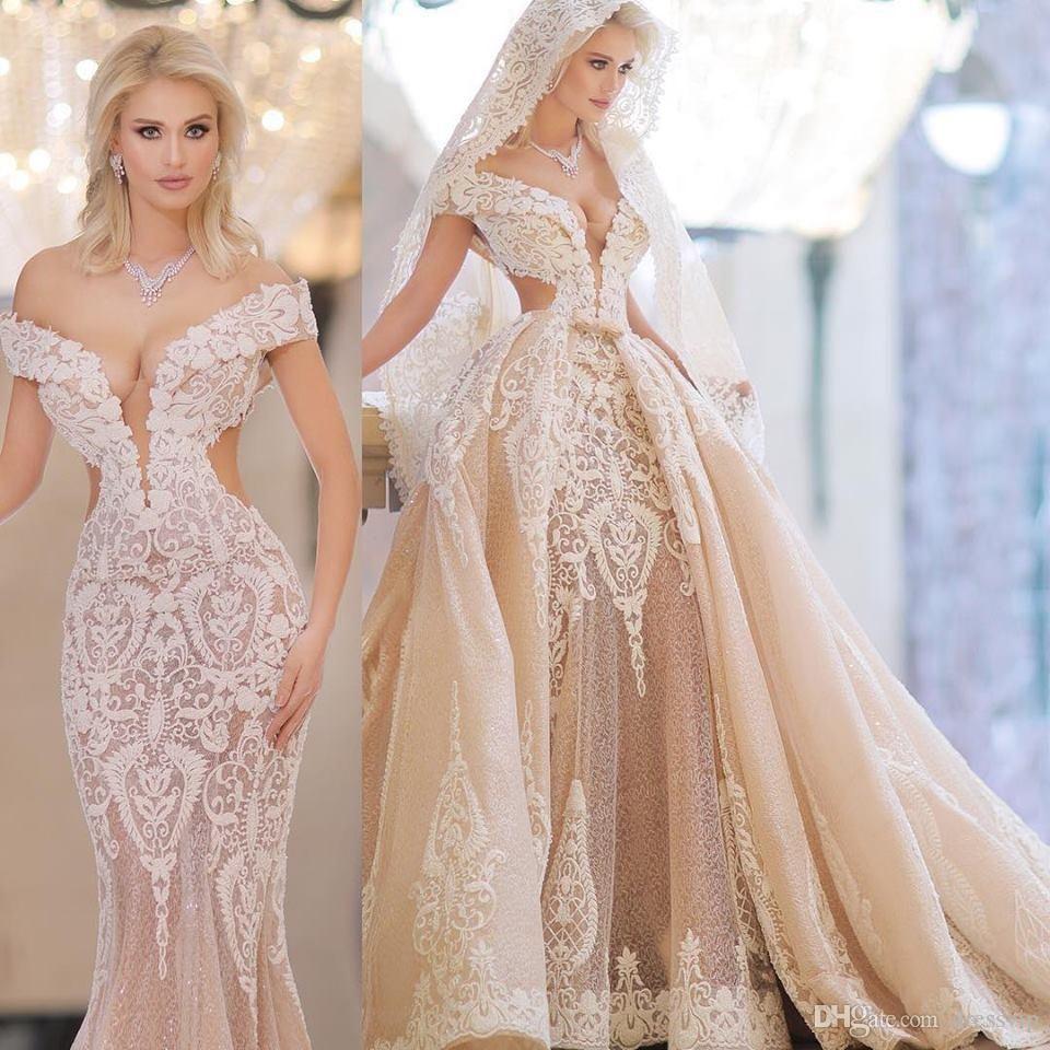 Champagne Mermaid Wedding Dresses With Detachable Train