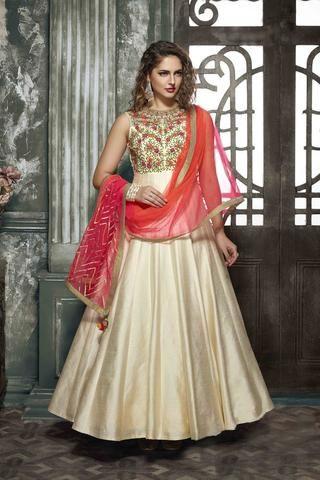 Light Beige Silk Gown Type Dress Design Salwar Kameez Latest ...