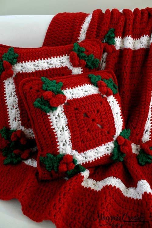 Holly And Berries Crochet Blanket Pillow Set Pattern For 2014