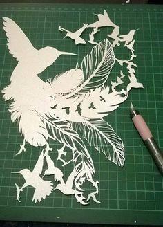 Couper votre propre modèle de coupe papier oiseau Sara - personnel utilisation JPEG espoir plume ...