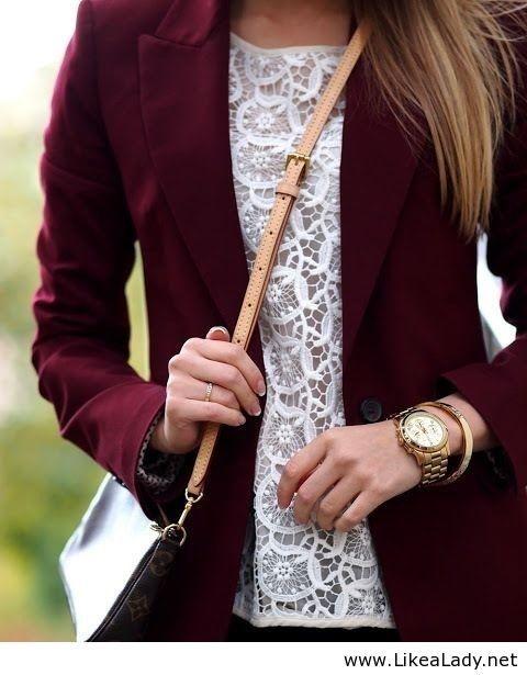 love the burgundy blazer