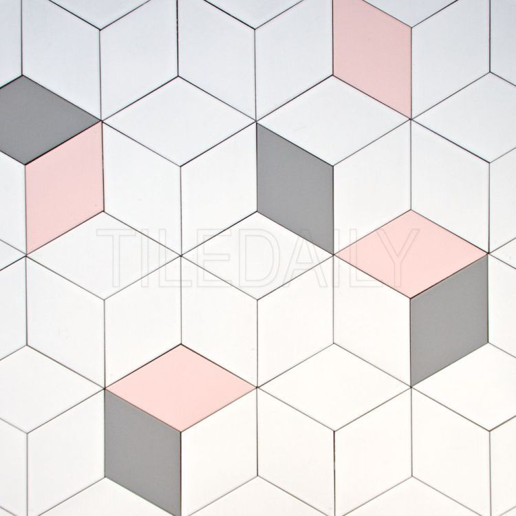 Diamond Cube Illusion Ceramic Wall Tile Pink Grey White Cube Tiledesign Walldesign 3d Wall Kitchendesign Wall Pink Tiles Tile Paint Colours Diamond Tile