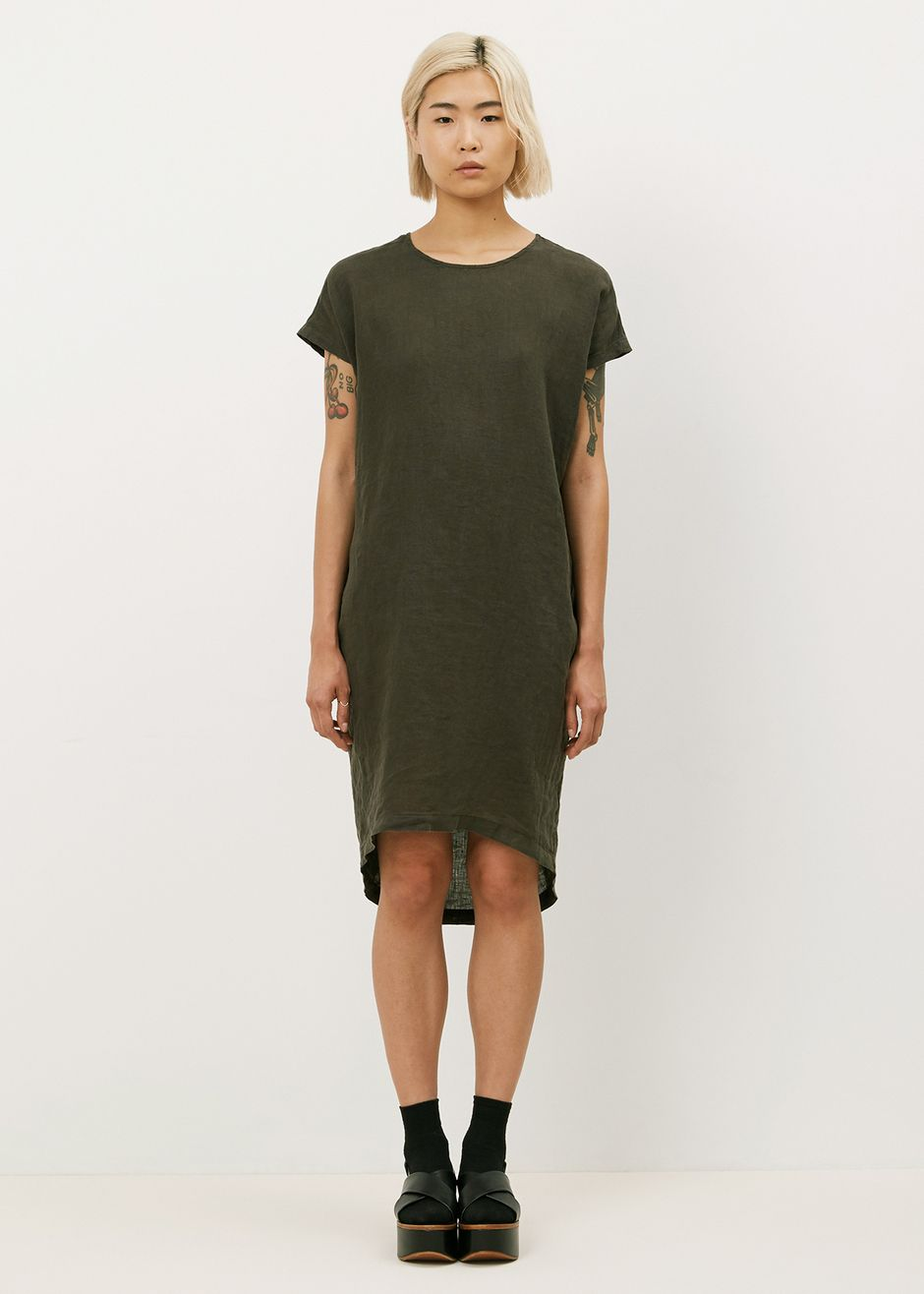 Black crane pleated cocoon dress charcoal life uniform