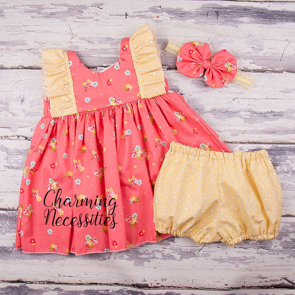 9c98ccb805bd Baby Girl First Easter Dress, My First Easter Outfit, Flutter Dress with  Bloomers and Bow Set, Toddler Girl Spring Dress, Baby Toddler Girl Dress,  Coral ...