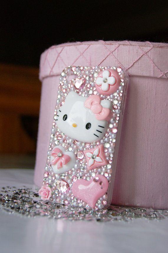 The Hello Kitty Case Photos : hello, kitty, photos, Hello, Kitty, Iphone, Decoden, Bling, Pearl, Rhinestone, Phone, Case,, Items,