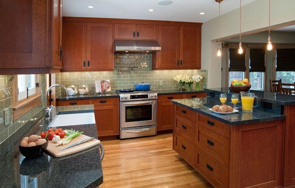 handles. oak mission cabinets with black cup pulls and ...