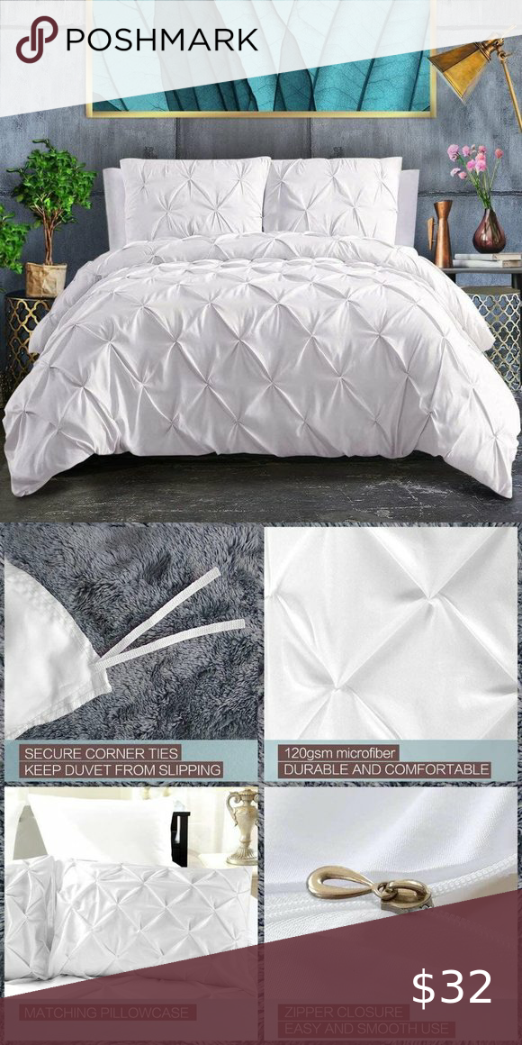 Reserved New Pinch Pleated Full Size Duvet Pintuck Duvet Cover White Duvet Covers Full Duvet Cover