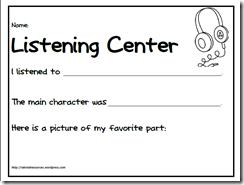 FREE Listening Center Sheet