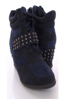 f5061726172b Navy Faux Suede Studded Sneaker Wedges