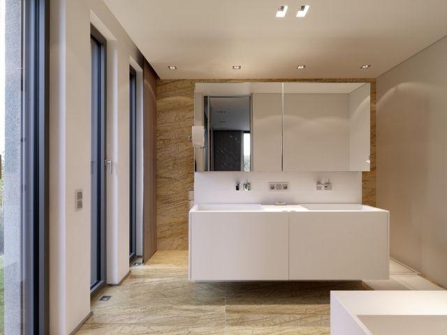 Badezimmer Möbel Set Weiß Spiegelschrank Doppelwaschtisch