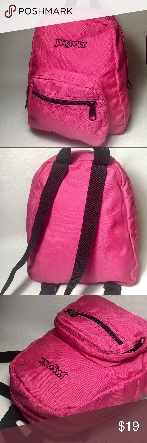 "Jansport hot pink 'half-pint' backpack Front utility pocket for easy access 600-denier construction for lasting durability Large main compartment Adjustable shoulder straps Key clip 12.3""H x 10""W x 6.5""D Polyester, zipper closure. Jansport Bags Backpacks"
