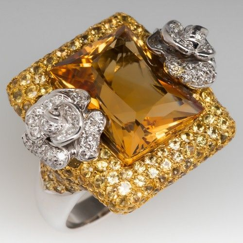 Ladies 12 Carat Citrine Cocktail Ring W Yellow Sapphire And Diamonds Aneis E Look