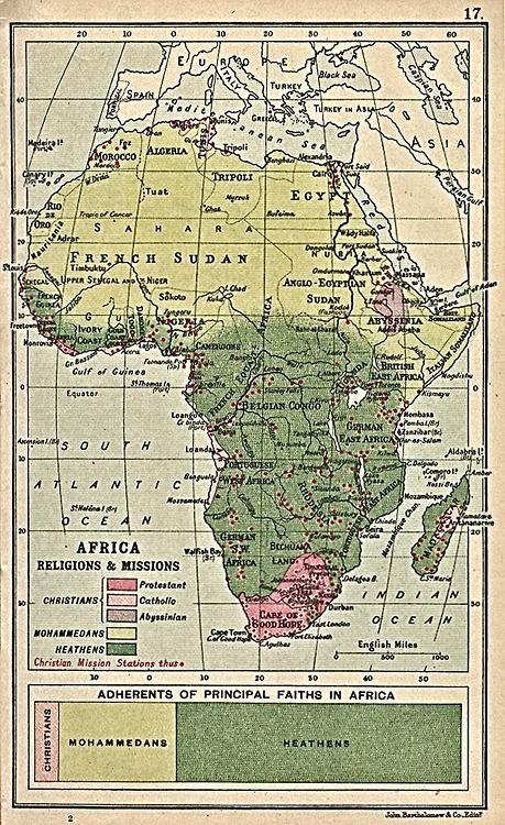 1913 Religious Map of Africa by John Bartholomew and Son, Edinburgh, Scotland
