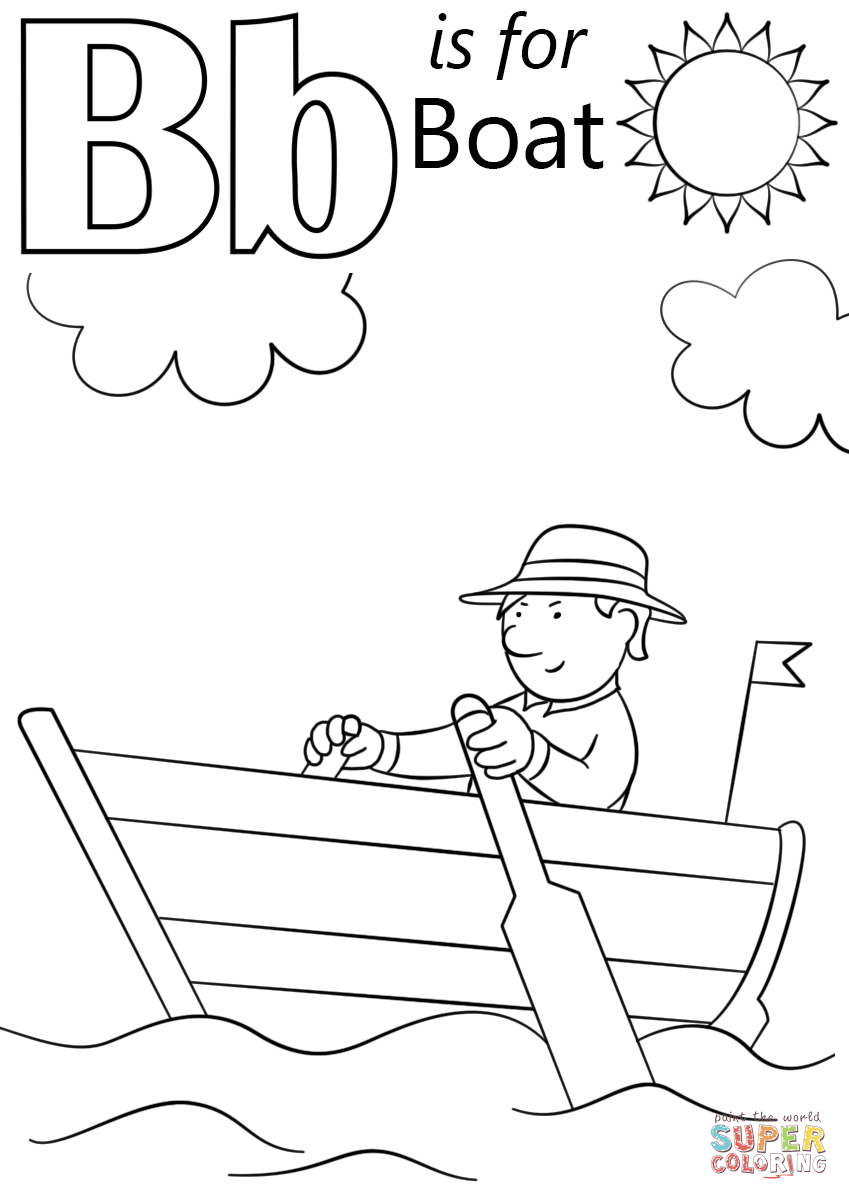 Letter b is for boat coloring page free printable coloring pages