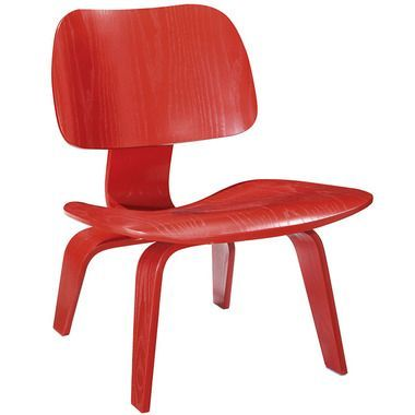 Fathom Curved Shape Wood Lounge Chair in Red