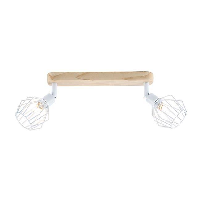 Noris Plafonnier de 2 spots en métal filaire blanc et décor bois
