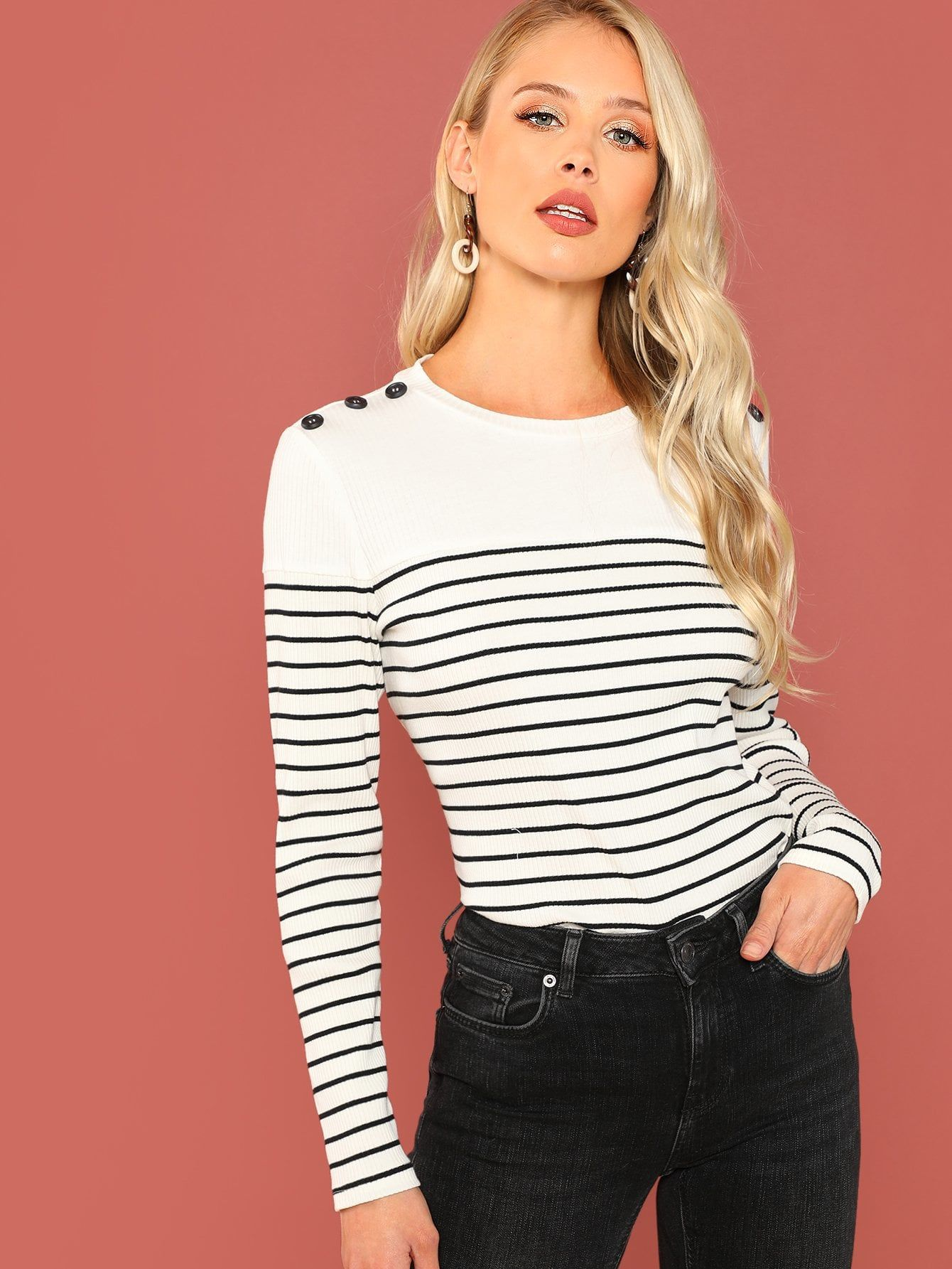 13d654d566 Button Detail Rib Knit Striped Tee Rib#Detail#Button. Casual Striped Slim Fit  Round Neck Long Sleeve Pullovers Black and White Regular Length ...