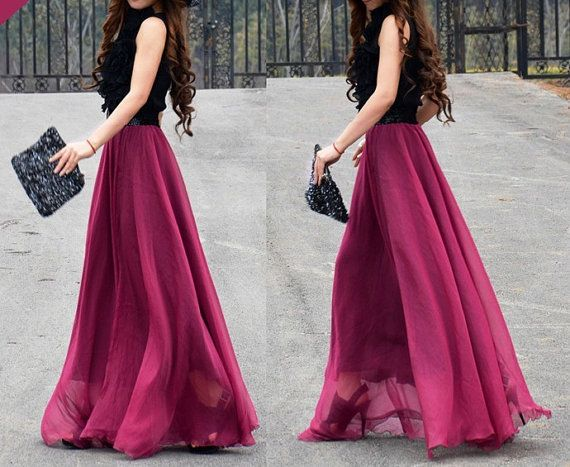 women's wine red silk Chiffon 8 meters of skirt circumference long ...