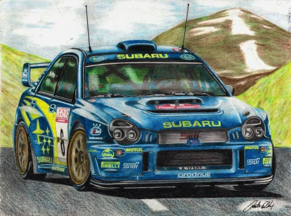Attila Pásztor`s Subaru Impreza drawing: Petter Solberg/ Rally San Remo 2001