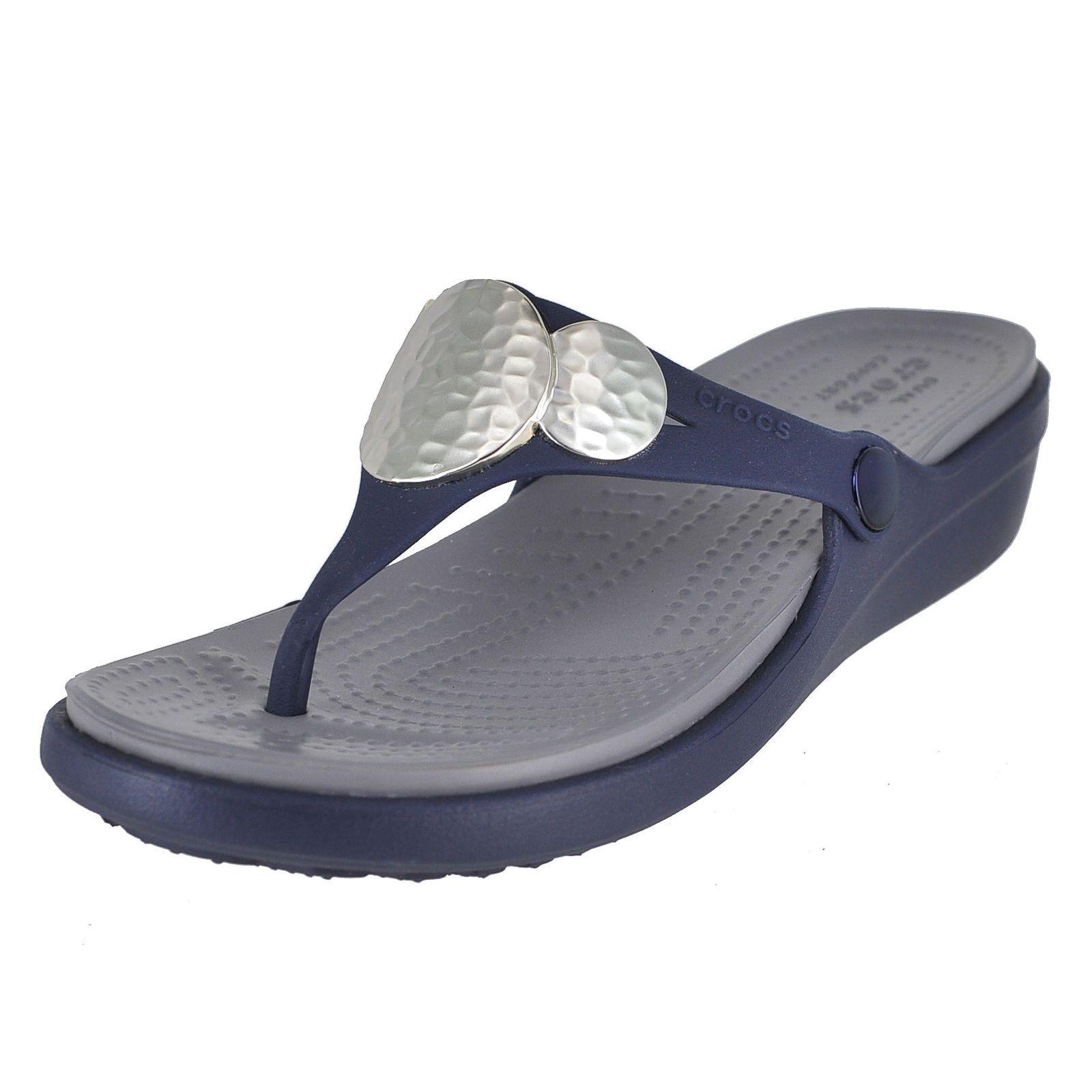 15d3b044f334 Crocs sanrah embellished wedge flip navy womens flip flop size jpg  1600x1600 Crocs sanrah