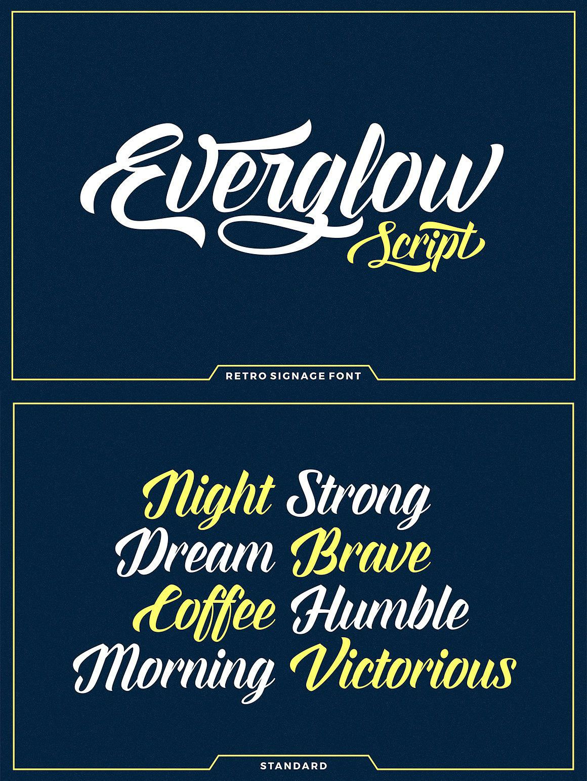 Everglow Script, Retro Font, Calligraphy Font, Brush Font