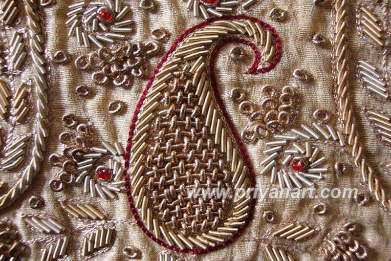 Zardosi work (sometimes spelled jardosi): the metal thread is so ...