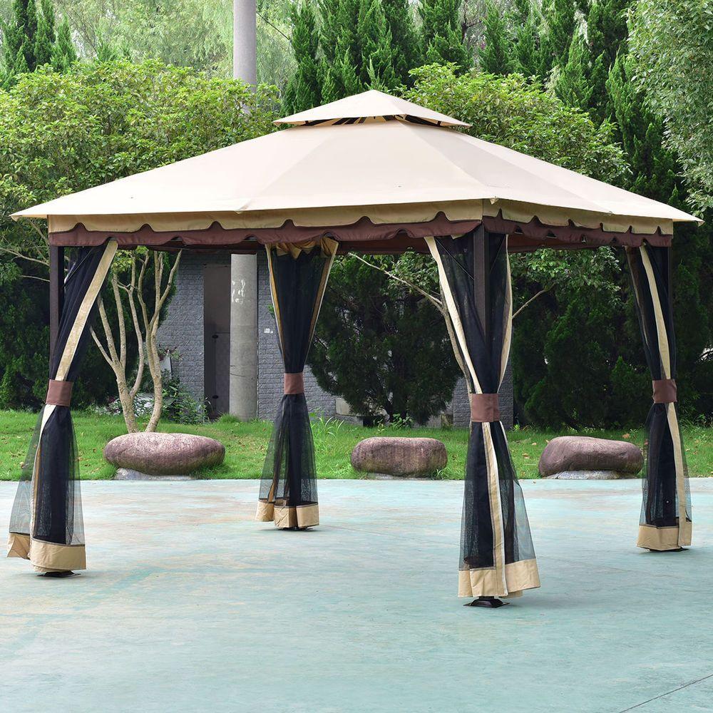 Gazebo canopy tent shelter metal outdoor patio furniture curtain pergola gazebos costway